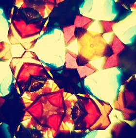View through colored glass in kaleidoscope