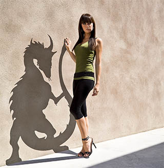 Woman with dragon shadow